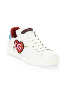 Dolce & Gabbana Glitter Heart Logo Leather Sneakers