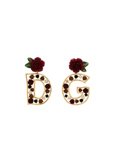 Dolce & Gabbana gold DG rose embellished earrings