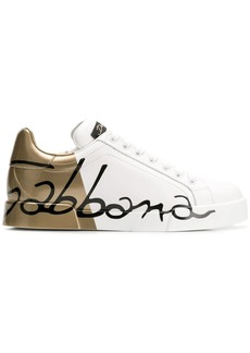 Dolce & Gabbana gold logo printed sneakers