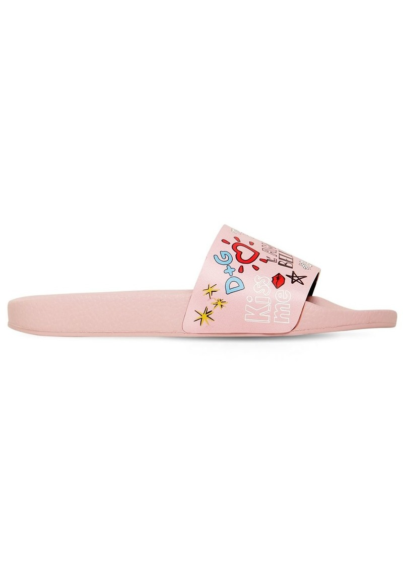 eb65883dbf1b10 Dolce   Gabbana Graffiti Leather Slide Sandals