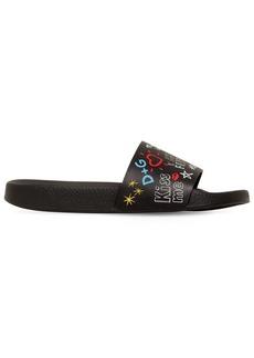 Dolce & Gabbana Graffiti Leather Slide Sandals