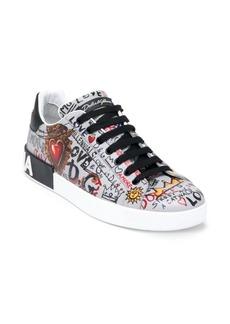 Dolce & Gabbana Graffiti Leather Sneakers