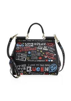 Dolce & Gabbana Graphic Leather Satchel