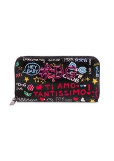 Dolce & Gabbana Graphic Zip-Around Leather Wallet