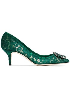 Dolce & Gabbana green Bellucci 60 lace crystal pumps