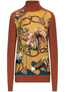 Dolce & Gabbana forest-print high-neck jumper