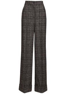 Dolce & Gabbana High Waist Check Wide Leg Pants