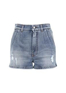 Dolce & Gabbana High Waist Cotton Denim Shorts