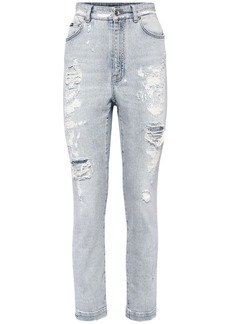 Dolce & Gabbana High Waist Cotton Denim Skinny Jeans