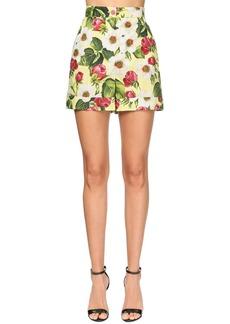 Dolce & Gabbana High Waist Flower Print Poplin Shorts