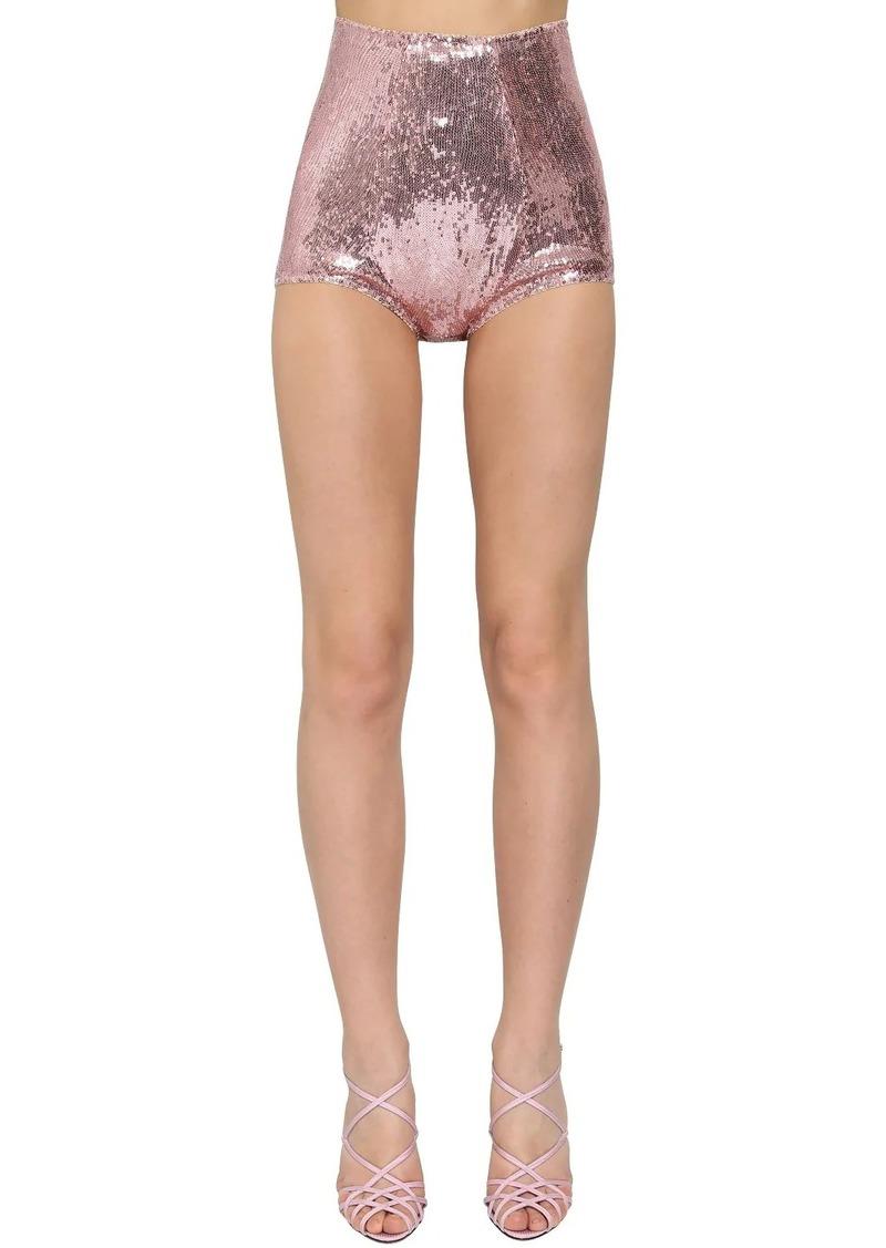 Dolce & Gabbana High Waist Sequined Shorts
