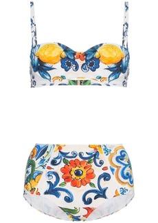 Dolce & Gabbana high waisted majolica print bikini