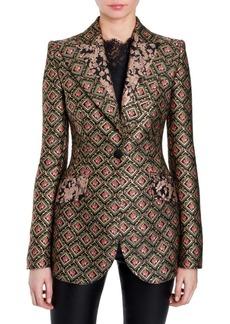 Dolce & Gabbana Jacquard Contrast Lapel Jacket