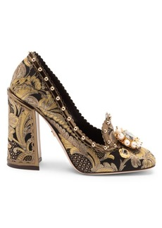 Dolce & Gabbana Jacquard Jewelled Loafers