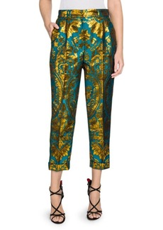 Dolce & Gabbana Jacquard Metallic Floral Cropped Pants