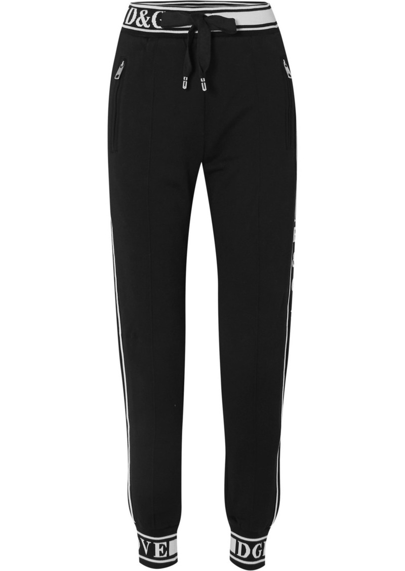 Dolce & Gabbana Jacquard-trimmed Cotton-jersey Track Pants