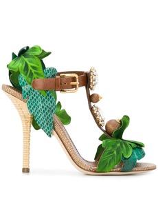 Dolce & Gabbana Keira leaf appliqué bejewelled sandals