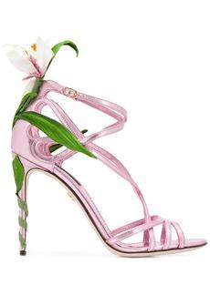 Dolce & Gabbana Kiera lily-embroidered sandals