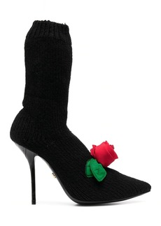Dolce & Gabbana knitted style rose calf boots