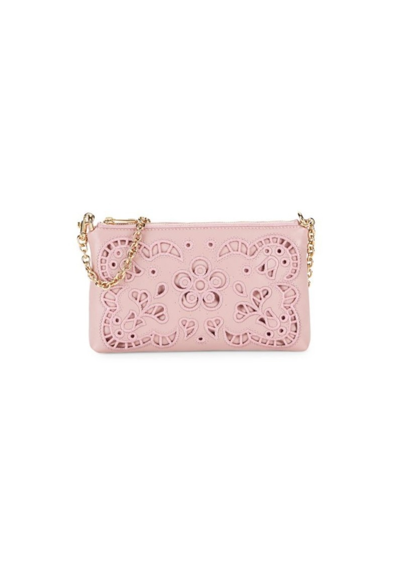 Dolce & Gabbana Lace-Cutout Leather Chain Pouch