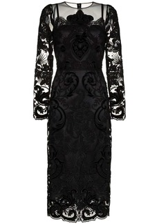 Dolce & Gabbana lace embellished silk midi dress