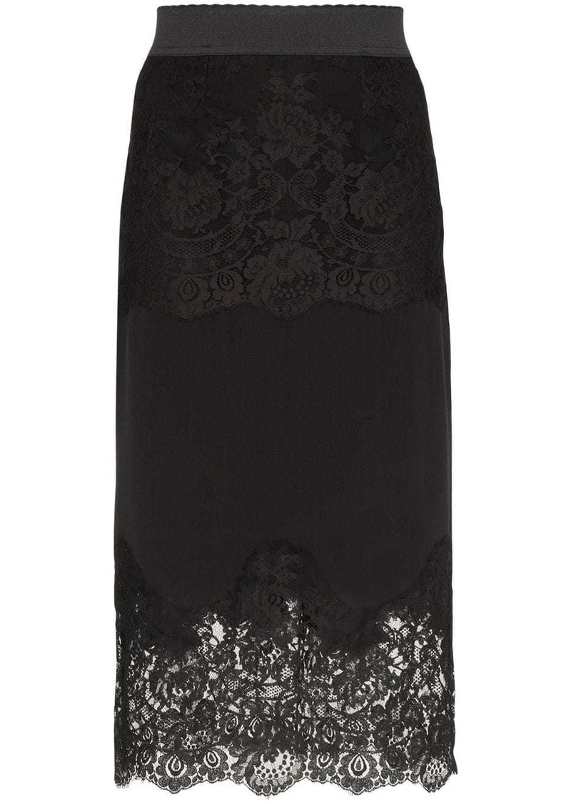 Dolce & Gabbana lace-insert pencil skirt