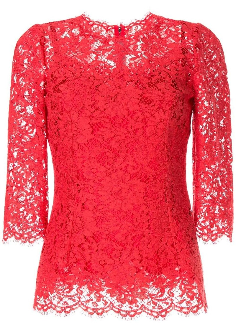 Dolce & Gabbana lace pattern scalloped blouse