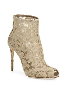 Dolce & Gabbana Lace Peep Toe Bootie
