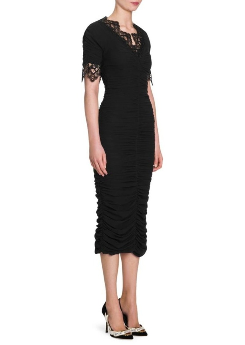 e7098a6f80446 Dolce & Gabbana Lace Trim Ruched Bodycon Dress | Dresses