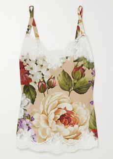 Dolce & Gabbana Lace-trimmed Floral-print Silk-blend Camisole