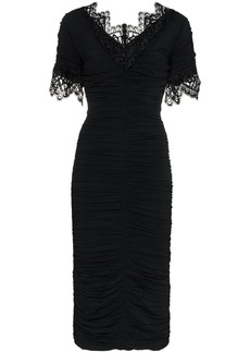 Dolce & Gabbana lace trimmed ruched silk blend Georgette dress