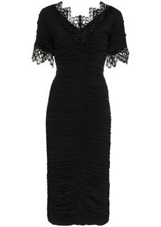 Dolce & Gabbana lace trimmed ruched silk blend Georgette dress