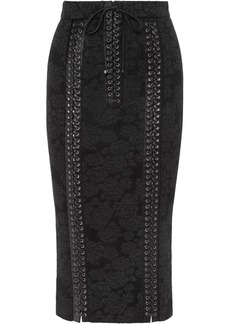 Dolce & Gabbana Lace-up Satin-trimmed Lace Pencil Skirt