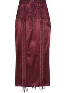 Dolce & Gabbana Lace-up Stretch-satin Midi Skirt