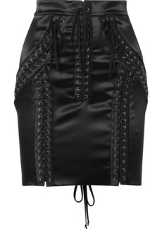 Dolce & Gabbana Lace-up Stretch-satin Mini Skirt