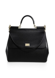 Dolce & Gabbana Large Sicily Leather Top Handle Satchel