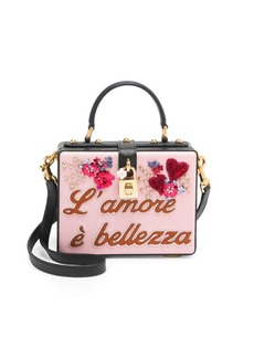 Dolce & Gabbana Leather Graphic Structured Top Handle Bag