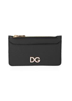 Dolce & Gabbana Embellished Logo Zippered Leather Card Case