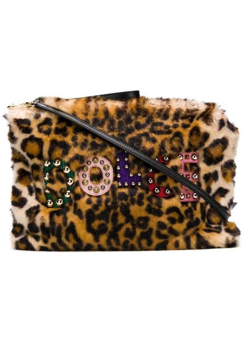Dolce & Gabbana leopard faux fur clutch
