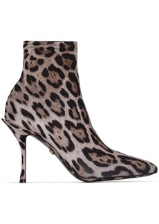 Dolce & Gabbana leopard print 90mm sock ankle boots