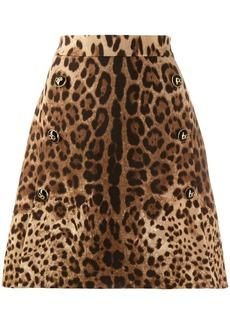 Dolce & Gabbana leopard print A-line skirt