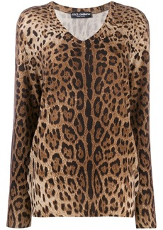Dolce & Gabbana leopard-print cashmere jumper