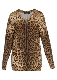 Dolce & Gabbana Leopard Print Cashmere V-Neck Sweater