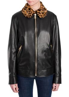 Dolce & Gabbana Leopard-Print Collar Leather Jacket
