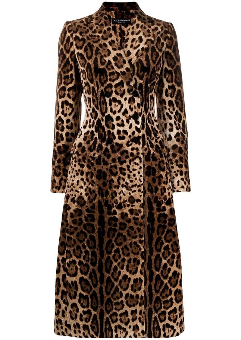 Dolce & Gabbana leopard print double-breasted coat
