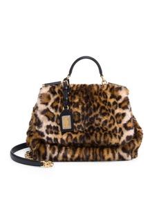 Dolce & Gabbana Leopard-Print Faux-Fur Top Handle Bag