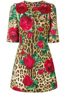 Dolce & Gabbana leopard print floral dress