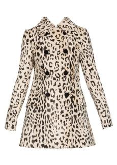 Dolce & Gabbana Leopard-Print Double-Breasted Goat Hair Coat