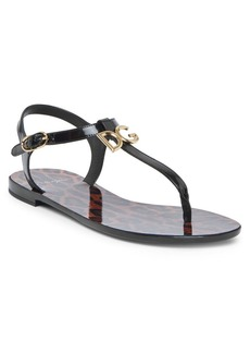 Dolce & Gabbana Leopard-Print Leather Thong Sandals