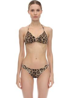 Dolce & Gabbana Leopard Print Lycra Triangle Bikini